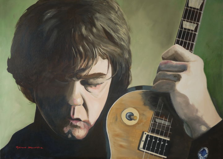 Gary Moore - Painting,  29.9x40.2x0.8 in, ©2016 by Gérard Duchêne -                                                                                                                                                                                                                                                                                                                                                                                                          Figurative, figurative-594, Portraits, Gary Moore, Blues, guitariste, chanteur, songwriter