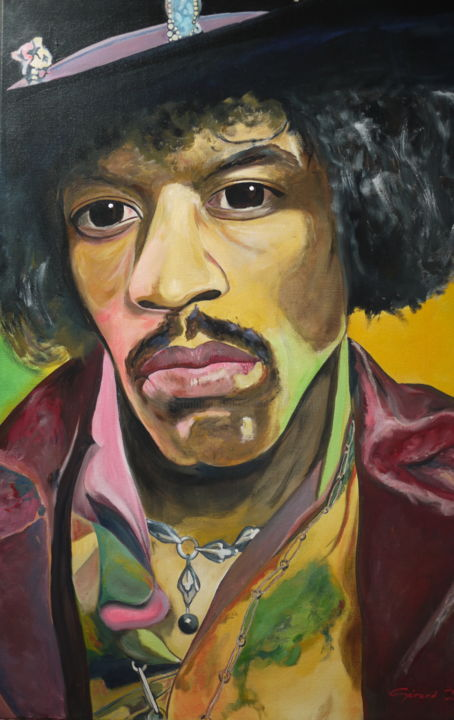 jimi-hendrix.jpg - Painting,  102x76x2 cm ©2016 by Gérard Duchêne -                                                            Figurative Art, Canvas, Portraits, Jimi Hendrix, Blues, Guitariste, chanteur, songwriter