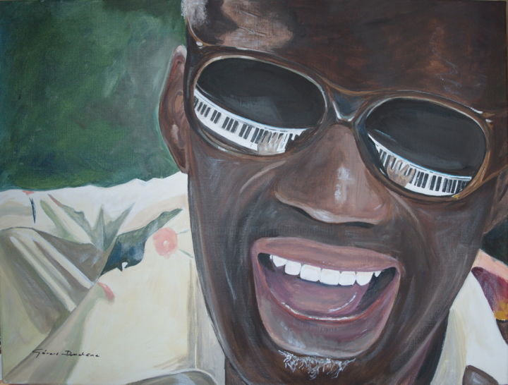 ray-charles.jpg - Painting,  60x80x2 cm ©2016 by Gérard Duchêne -                                                            Figurative Art, Canvas, Portraits, Ray Charles, Blues, Pianiste, songwriter