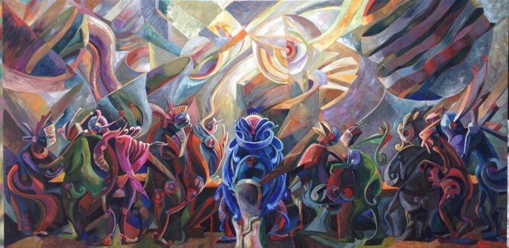 Behind The Last Supper - Painting,  39.4x78.7x1.6 in, ©2015 by Loi Duc (DucloiArt) -                                                                                                                                                                                                                                                                      Abstract, abstract-570, Angels, ducloiart, Vietnamese contemporary art