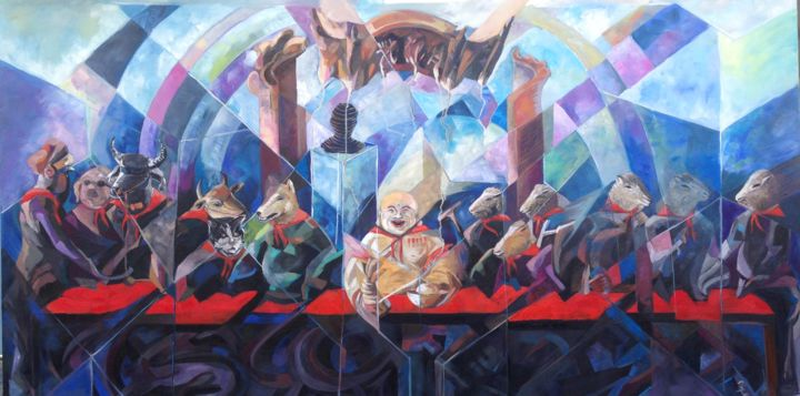 Hey! Vietnam Communism - Painting,  39.4x78.7x1.6 in, ©2015 by Loi Duc (DucloiArt) -                                                                                                                                                                                                                      Abstract, abstract-570, Angels, Animals