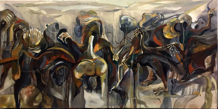 Under the icon hammer and sickle ! - Painting,  100x200x4 cm ©2018 by DucloiArt -                                                                                                    Abstract Art, Conceptual Art, Contemporary painting, Abstract Art, Airplane, Angels, Animals