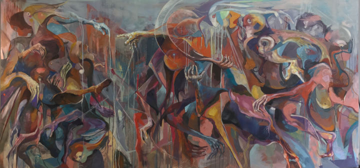 Betray God - Painting,  120x250x4 cm ©2019 by DucloiArt -                                                                                                        Abstract Expressionism, Art Nouveau, Contemporary painting, Cubism, Abstract Art, Angels, Asia, ducloiart, loi_artist