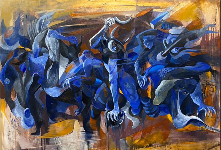 """Painting titled """"Crazy dogs 2"""" by Loi Duc (DucloiArt), Original Art, Oil"""