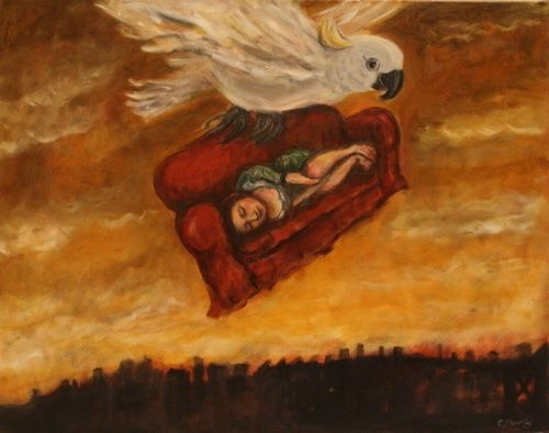 Couch Flying - Painting,  48x33 cm ©2011 by Dudley -
