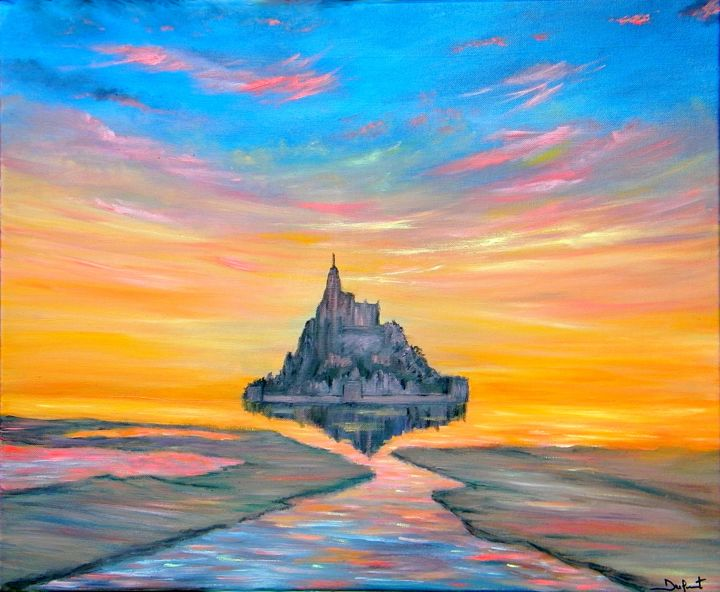 coucher de soleil sur le mont saint michel peinture. Black Bedroom Furniture Sets. Home Design Ideas