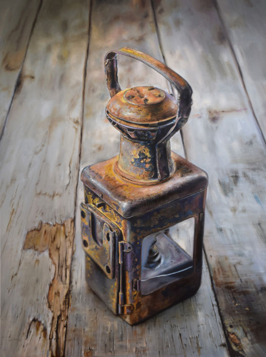 """Painting titled """"Light from the past…"""" by Péter Duhaj, Original Art, Oil"""