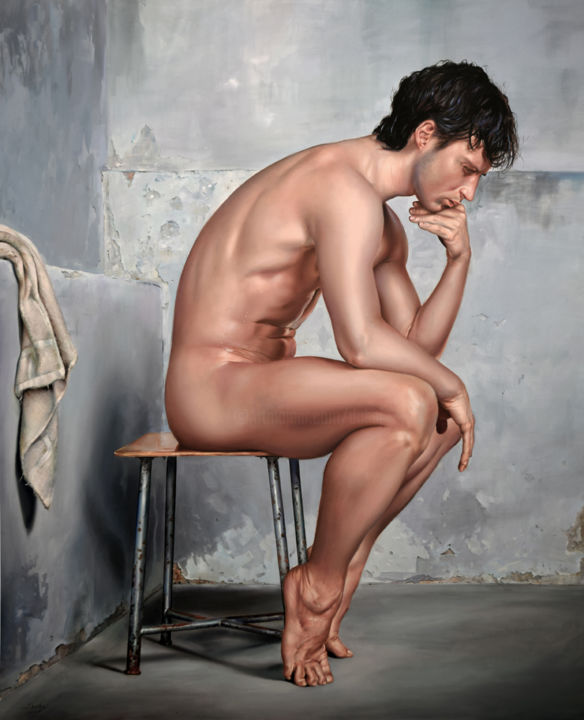 After Rodin (Artwork to order) - Painting,  47.2x39.4x0.1 in, ©2019 by Péter Duhaj -                                                                                                                                                                                                                                                                                                                                                                                                                                                                                                                                                                                                                                                                                                                                                                          Hyperrealism, hyperrealism-612, Erotic, Fantasy, Men, Nude, World Culture, peter duhaj, vamosiart, rodin, nude man, fantasy art, harmony, grey, grey painting, romantic
