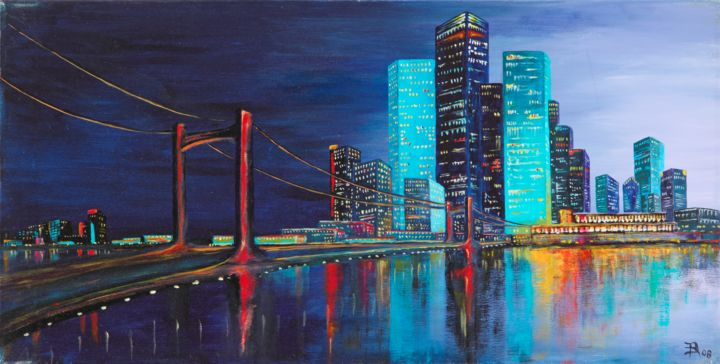 """Painting titled """"In the city"""" by Alois Baumgartner, Original Art, Acrylic"""