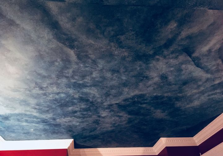 """Painting titled """"Night sky ceiling"""" by Irena Dukule, Original Art, Architecture"""