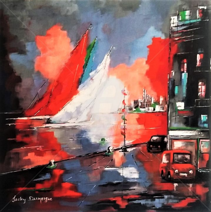 Retour au port de ROYAN - Painting,  90x90 cm ©2017 by Jacky DUMERGUE -                                                            Figurative Art, Canvas, Seascape, voiliers, port royan, mer