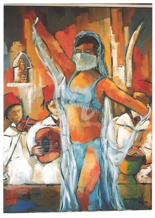 Danseuse Marocaine - Painting,  39.4x31.9 in, ©2004 by Jacky Dumergue -                                                              danse femme marrocaine