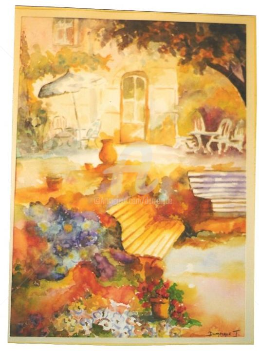 le jardin - Painting,  19.7x15.8 in, ©2004 by Jacky Dumergue -