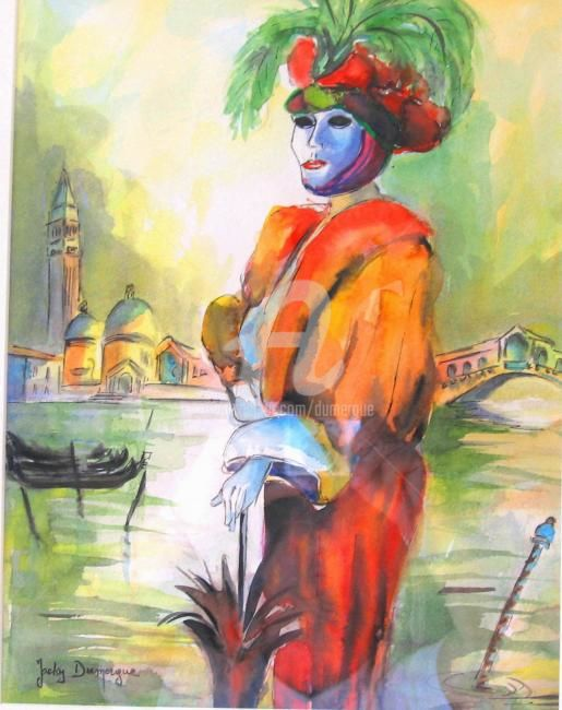 Belle Vénitienne - Painting,  19.7x15.8 in, ©2007 by Jacky Dumergue -