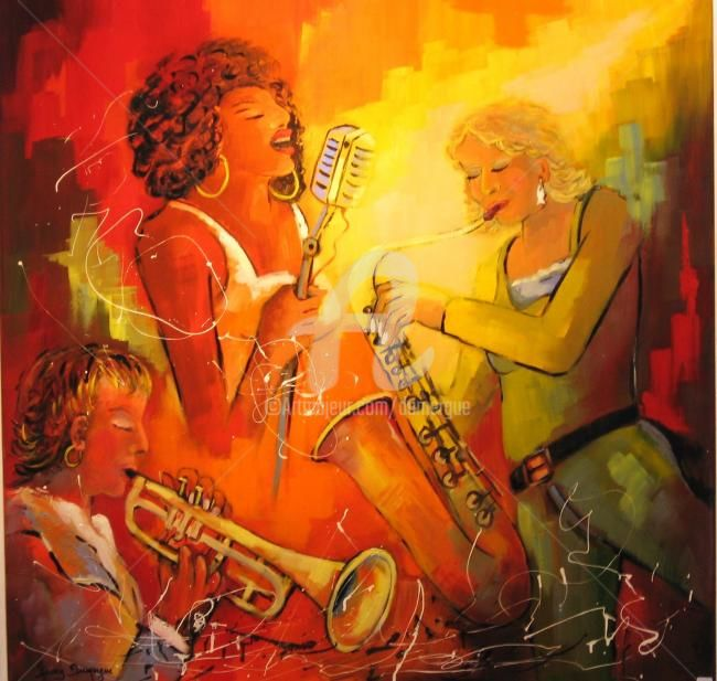 Jazz and Voice Music - Painting,  39.4x39.4 in, ©2011 by Jacky Dumergue -                                                                                                                                                                                                                                              femmes, jazz, saxo, chanteuse, trompette