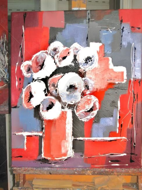 Bouquet rose - Painting,  45x65 cm ©2012 by Jacky DUMERGUE -                            Contemporary painting, bouquet, fleurs, nature morte