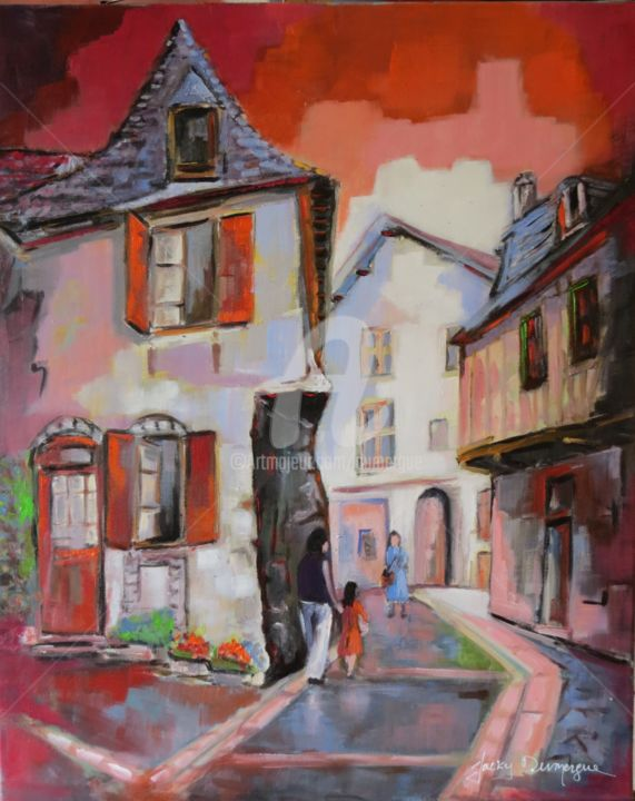 Salies de Béarn - Painting,  33.5x24 in, ©2015 by Jacky Dumergue -                                                              Cityscape
