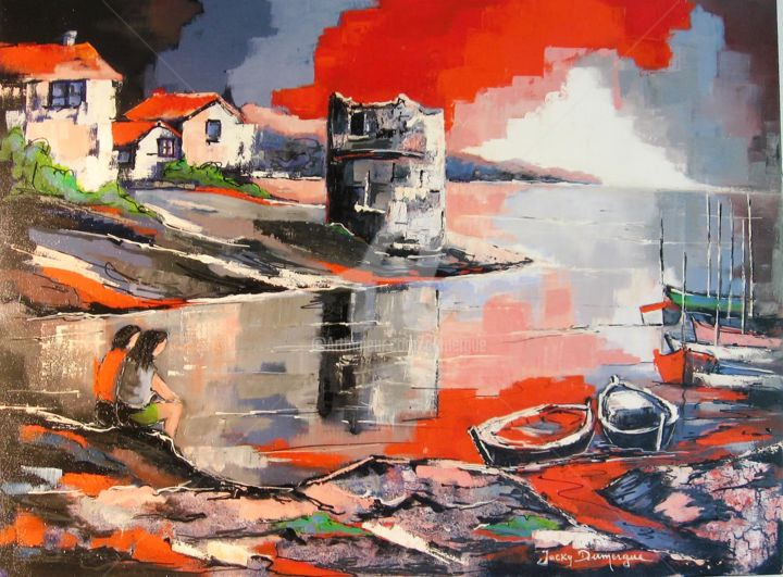 Corse près de Propriano : The watch-Tower - Painting,  23.6x31.5 in, ©2016 by Jacky Dumergue -                                                              Seascape