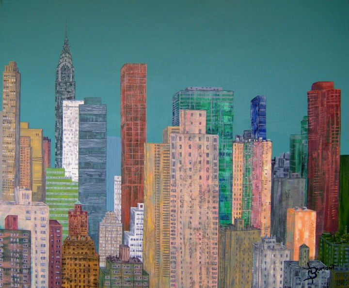 new york - Painting,  50x60 cm ©2012 by Bruno Dumont -                        Contemporary painting