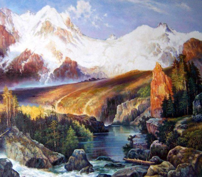 Idaho Wilderness - Painting,  36x48 in ©2012 by John Hudson Hawke -            mountain scene