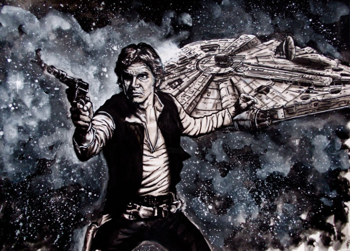 han solo ,Harrison Ford.jpg - Painting, ©2014 by Frederic Dupain -