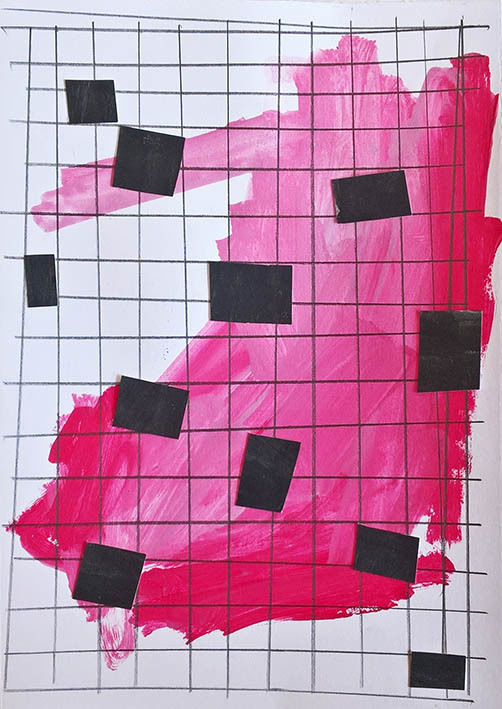 """Drawing titled """"into the grid"""" by Dusan Stosic, Original Art, Acrylic"""