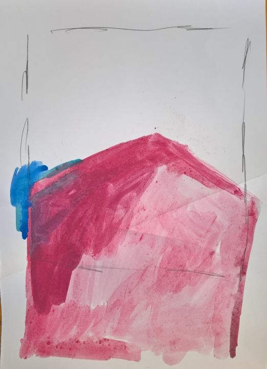 pink turns square - Dessin,  19,7x13,8x0,2 in, ©2018 par Dusan Stosic -                                                                                                                                                                                                                                                                                                                                                                                                                                                                                                                                                                                          Abstract, abstract-570, Art abstrait, drawing, contemporary, contemporary drawings, contemporary art, artwork, original, pencil on paper, watercolor, abstract