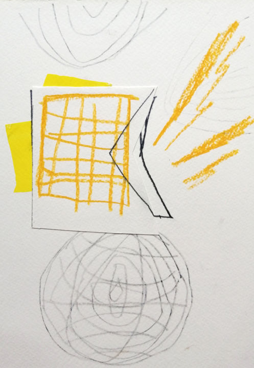 """Drawing titled """"Yellow grid"""" by Dusan Stosic, Original Art, Pencil"""