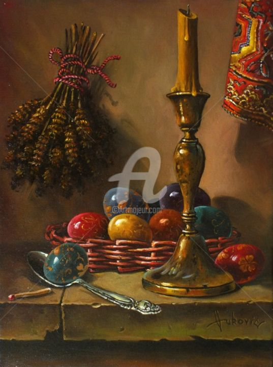 Easter - decorating eggs - Painting,  15.8x11.8 in, ©2012 by dusanvukovic -                                                                                                                                                                                                                      Figurative, figurative-594, religious, still life