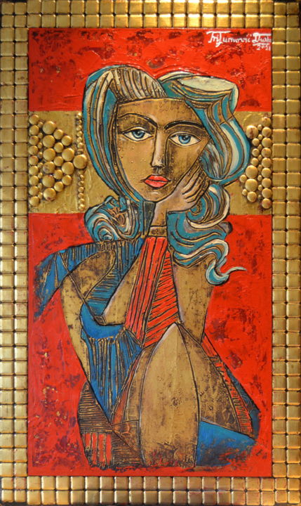 """Painting titled """"""""Muse de Picasso"""""""" by Angel, Original Art, Oil"""