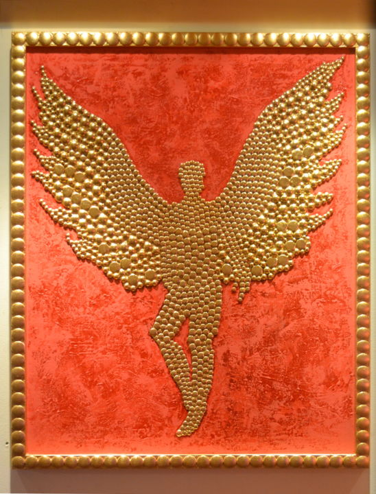 """Painting titled """"Golden Angel"""" by Angel, Original Art, Oil"""