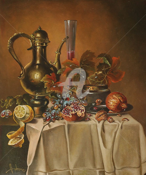 Autumn Still Life - Painting,  23.6x19.7 in, ©2014 by Dusan Vukovic -                                                                                                                                                                                                                                                                                                                                                              Figurative, figurative-594, Still life, still life, realism, paintings, dusanvukovic