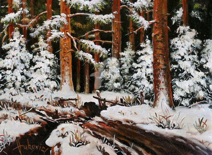 Winter in the woods - Painting,  11.8x15.8 in, ©2015 by Dusan Vukovic -                                                                                                                                                                                                                                                                                                                                                              Figurative, figurative-594, Landscape, realism, forest, winter, dusanvukovic