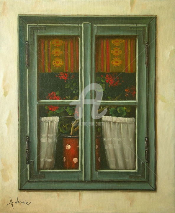 window - Painting,  23.6x19.7 in, ©2015 by Dusan Vukovic -                                                                                                                                                                                                                                                                                                                                                              Figurative, figurative-594, Still life, still life, realism, window, curtains