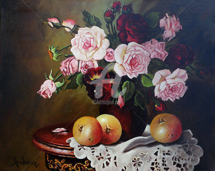 Roses - Painting,  15.8x19.7 in, ©2015 by Dusan Vukovic -                                                                                                                                                                                                                                                                                                                                                                                                                                                                                                  Figurative, figurative-594, Still life, realism, roses, still life, flowers, dusanvukovic, lace, tablecloth