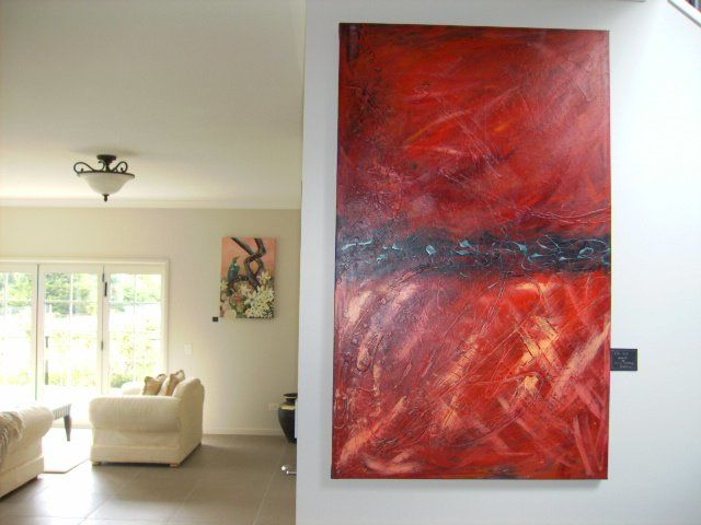 """Painting titled """"Rich red Abstract"""" by Janine Westbury - Prowse, Original Art,"""