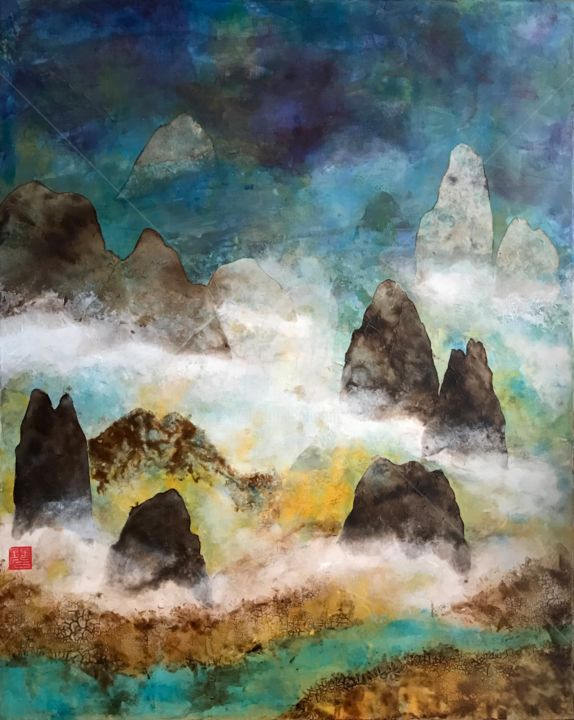Abstract Shan Shui - Painting,  81x65x2 cm ©2019 by David VALL -                                                                        Abstract Expressionism, Paper, Canvas, Mountainscape, Shan Shui, Chinese Painting, Blue, Mountain, River, Water, Green, White, Walnut Stain, Yellow, Rice Paper