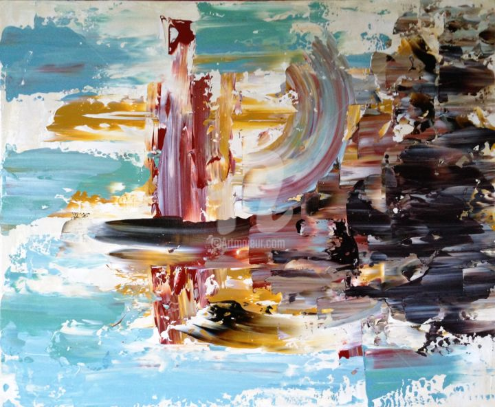 """Painting titled """"Abstract Shore"""" by David Vall, Original Art, Acrylic"""