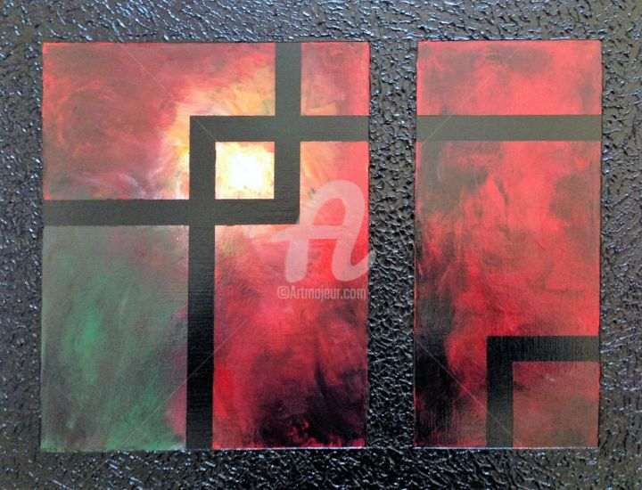 """Painting titled """"Window on Fire"""" by David Vall, Original Art, Acrylic"""
