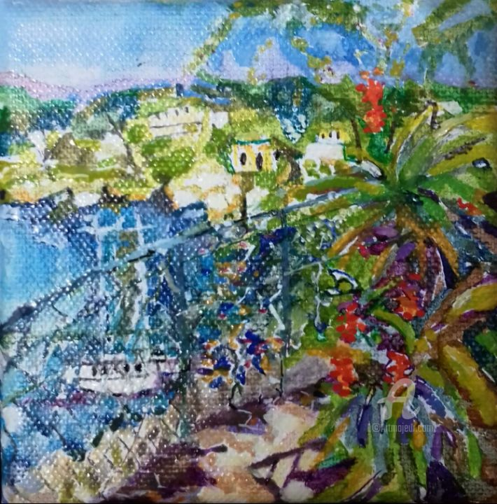 petit chemin vers la rade d'Antibes - Painting,  10x10x2 cm ©2017 by dyguiluge -                                            Figurative Art, Canvas, rade, antibes, bord mer, couleurs, mer, fleurs