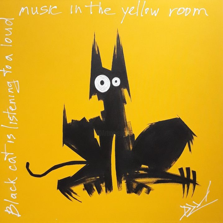 Black cat is listening to a loud music in the yell - Painting,  57x57x3.5 cm ©2019 by DZM -                                        Pop Art, Animals