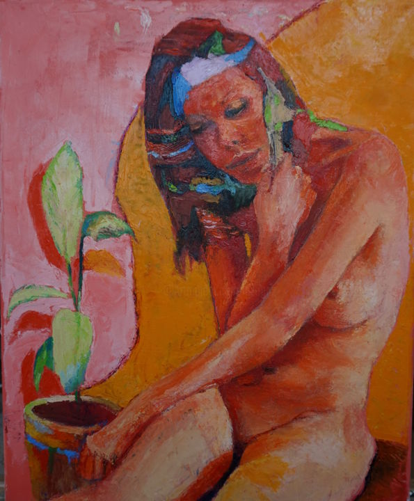 nude - Painting,  50x40x1.5 cm ©2010 by Dzogaz -                                                                                            Figurative Art, Canvas, Nude, Flower, Botanic, Erotic