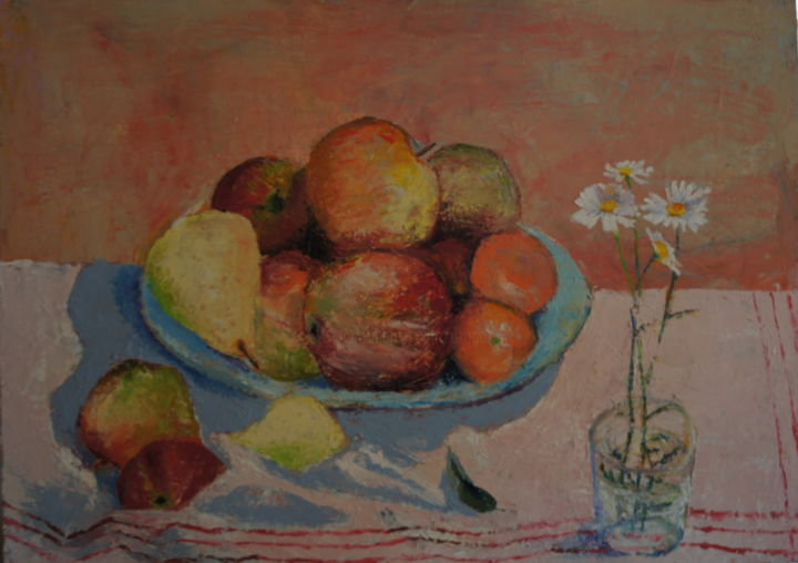 stilleben.jpg - Painting,  50x70x4 cm ©2015 by Dzogaz -                                                                                Figurative Art, Canvas, Flower, Food & Drink, Kitchen