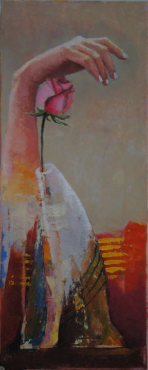 bild2.jpg - Painting,  50x2x50 cm ©2015 by Dzogaz -                                                                                Figurative Art, Canvas, Flower, Culture, Love / Romance