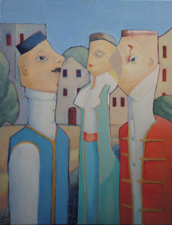 montenegriners-in-urban-area.jpg - Painting,  90x2x70 cm ©2005 by Dzogaz -                                                        Figurative Art, Canvas, People