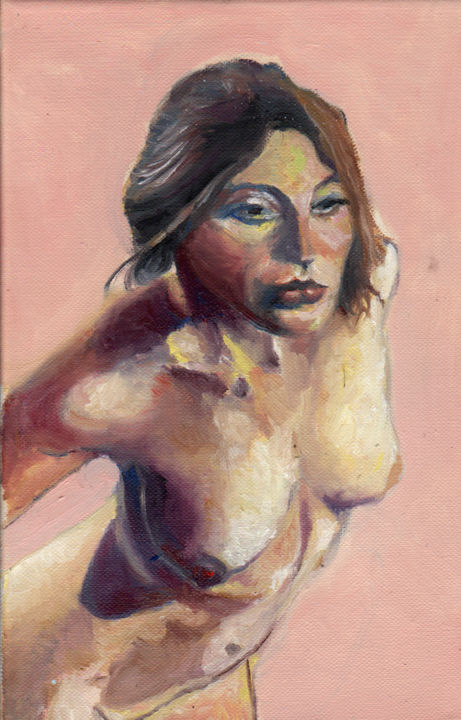 licesaadebojane.jpg - Painting,  30x20x2 cm ©2016 by Dzogaz -                                                        Figurative Art, Canvas, Nude