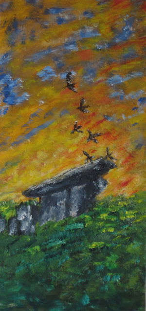 """Painting titled """"Birds over Stonehen…"""" by Art By Linda, Original Art, Oil"""