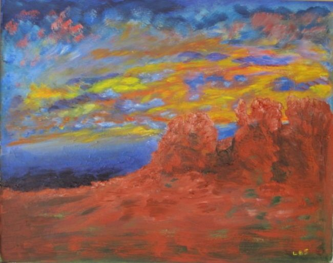 """Painting titled """"Red Rocks"""" by Art By Linda, Original Art, Oil"""