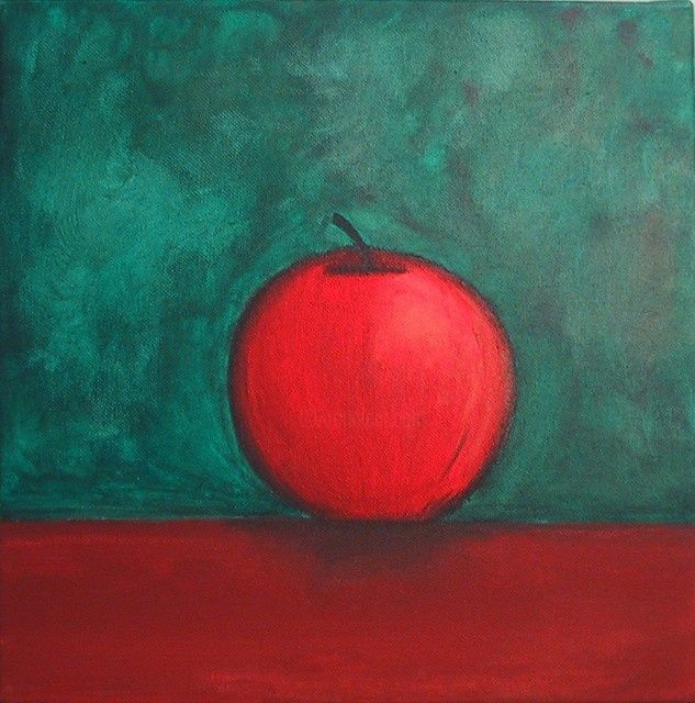 """Painting titled """"Cezanne's Apple"""" by Gina Acord, Original Art, Oil"""