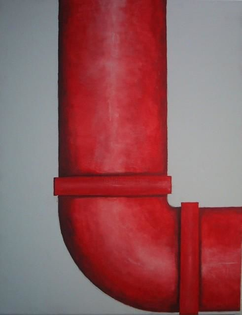 """Painting titled """"Red Pipe"""" by Gina Acord, Original Art,"""
